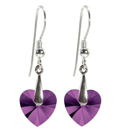 Swarovski Crystal Heart Drop Earrings 925 Sterling Silver
