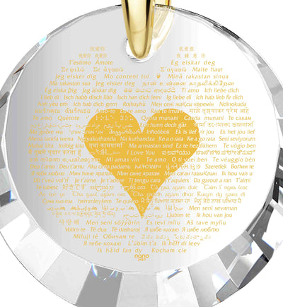 Gold Plated Silver I Love You Necklace 24K Gold Inscribed in 120 Languages and Crystal Heart Earrings
