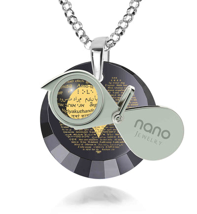 925 Sterling Silver Love Necklace 24k Gold Inscribed with I Love You in 120 Languages on Cubic Zirconia