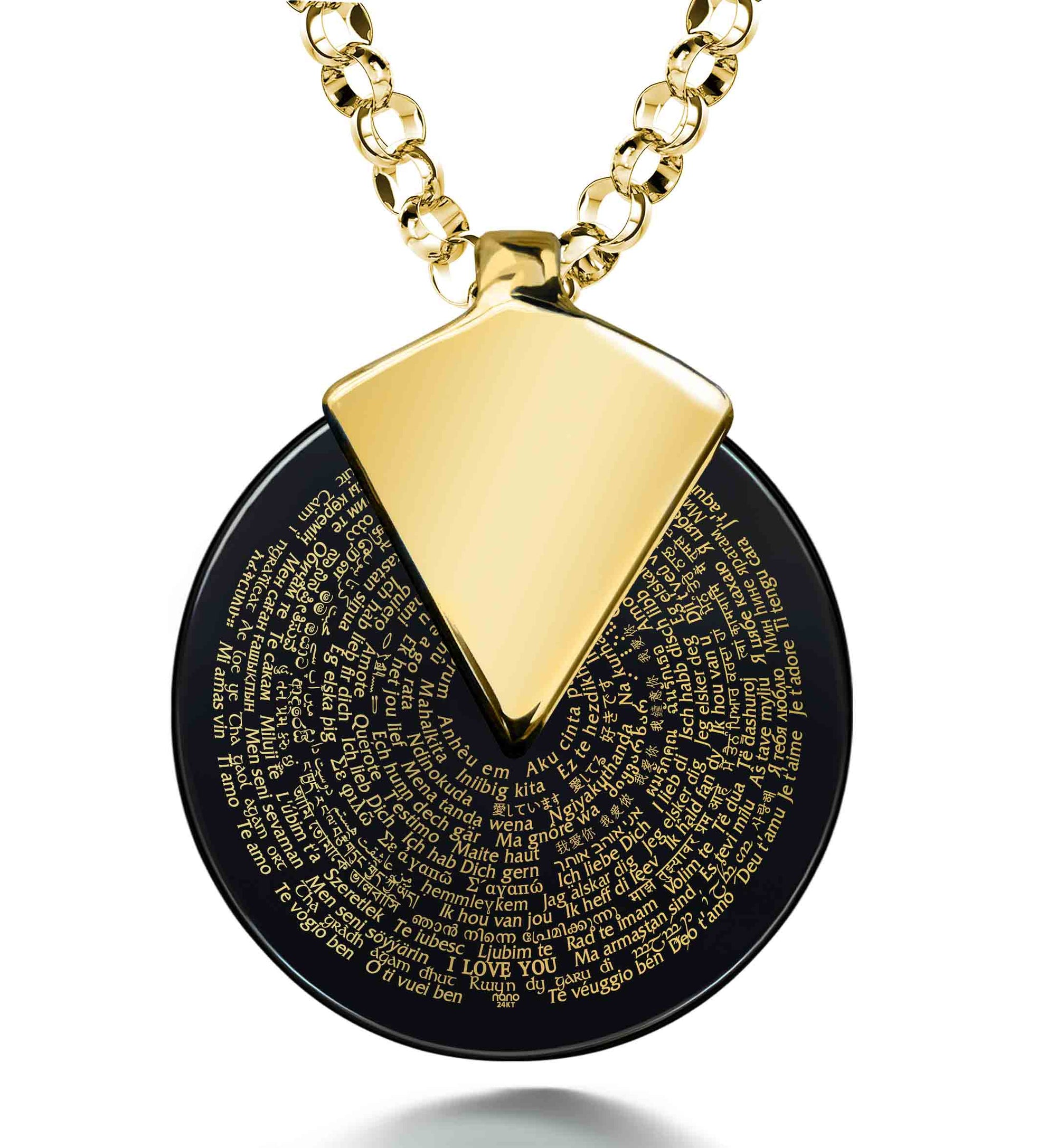 I Love You Necklace in 120 Languages 24k Gold Inscribed on Spinning Round Onyx