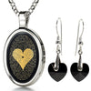 I Love You Necklace in 120 Languages 24k Gold Inscribed Onyx and Crystal Heart Earrings Jewelry Set