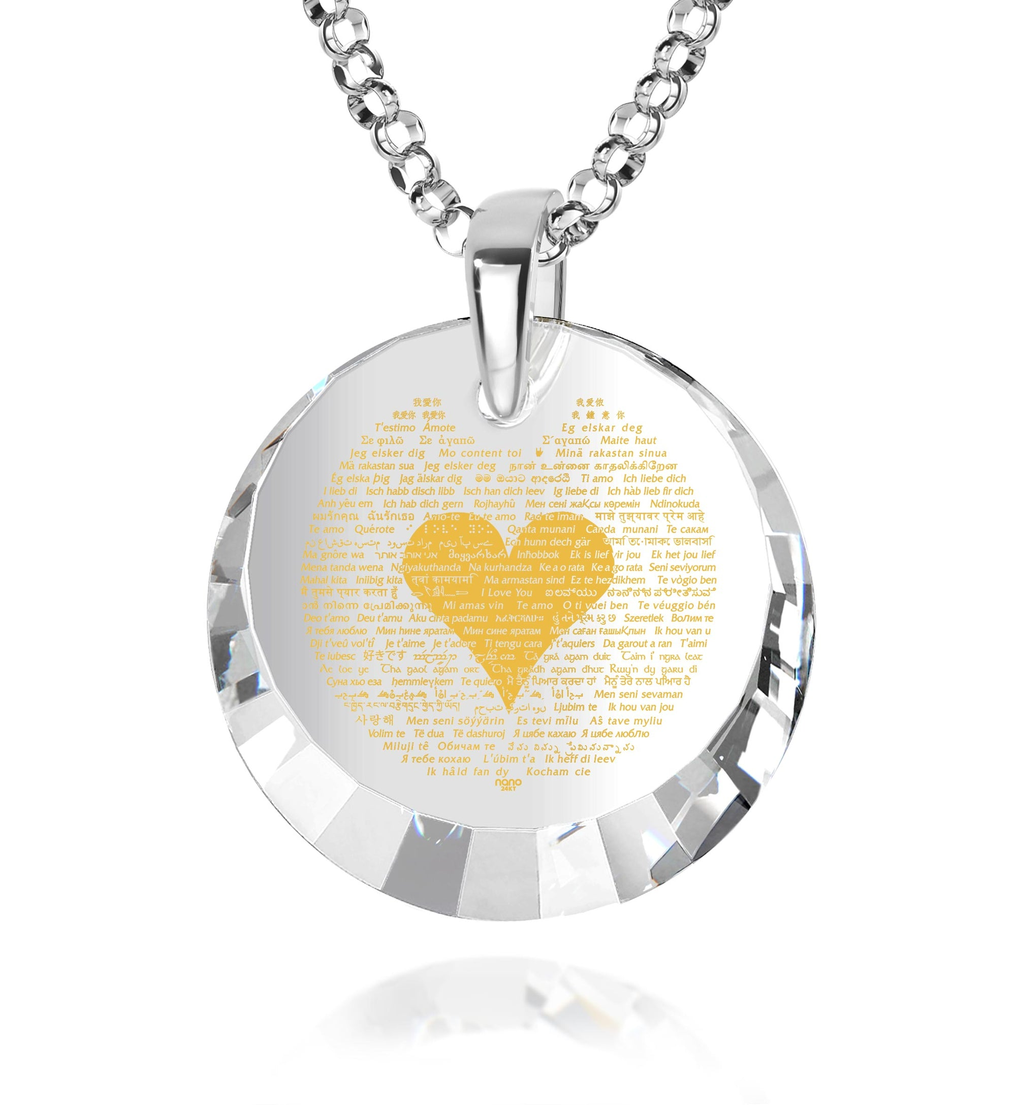 Perfect Gift for Her Anniversary Necklace I Love You Pendant Inscribed in 120 Languages in 24k Gold on CZ Romantic Silver Necklace