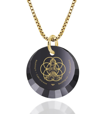 Yoga Charm Necklace Seed of Life Pendant 24k Gold Inscribed CZ