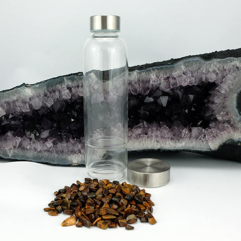 Crystal Elixir Water Bottle with Tiger Eye - Power, Courage & Understanding
