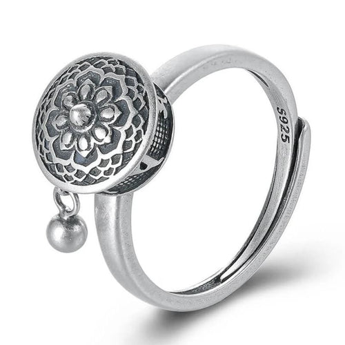 Spinning Buddhist Mantra Ring With Tibetan Prayer Roll - 925 Sterling Silver
