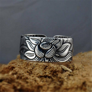 Lotus Ring with Heart Sutra - Solid 999 Silver