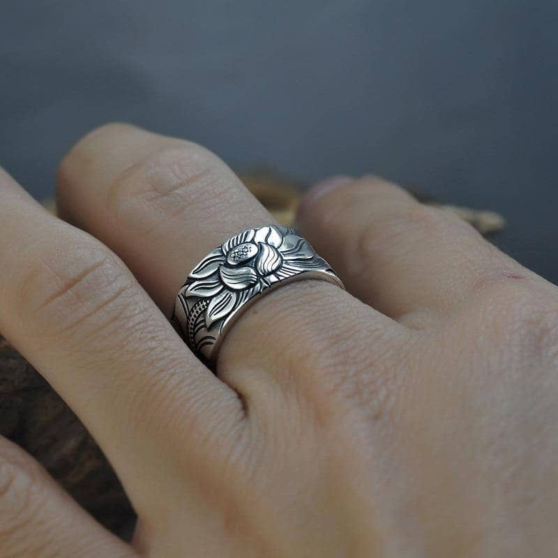 Lotus Ring with Heart Sutra - 999 Solid Silver