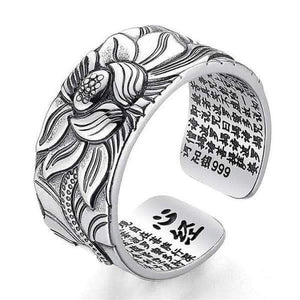 Child Promise Lotus Ring with Heart Sutra - Solid 999 Silver