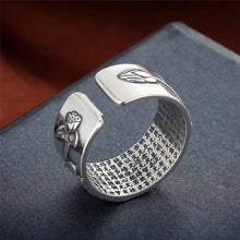 Load image into Gallery viewer, Lotus Ring with Heart Sutra - Solid 999 Silver