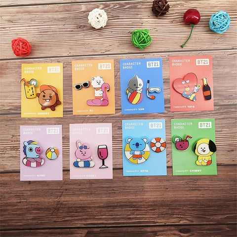 BT21 Cute Acrylic Brooch Pins - BTS Merch