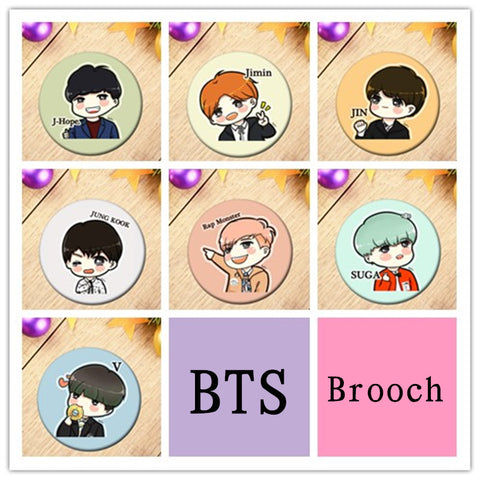 BTS ANIMATED Brooch Pin - BTS Merch