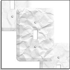 White crinkled paper switch plates
