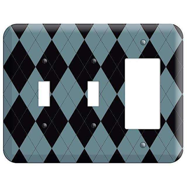 Blue and Black Argyle 2 Toggle / Rocker Wallplate - Wallplatesonline.com