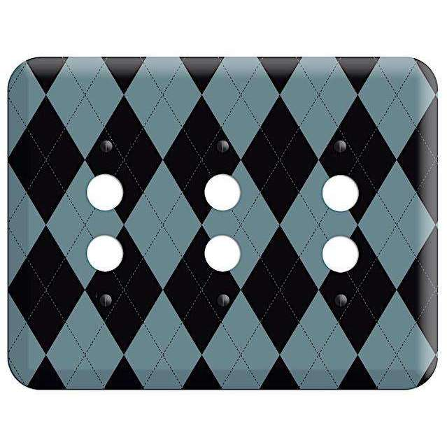 Blue and Black Argyle 3 Pushbutton Wallplate - Wallplatesonline.com