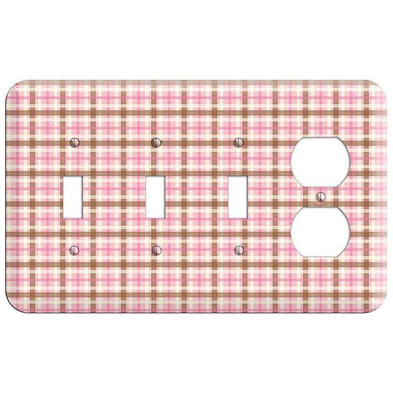 Pink and Brown Plaid 3 Toggle / Duplex Wallplate - Wallplatesonline.com