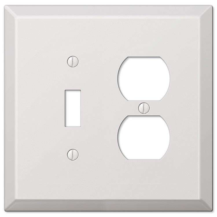 Paintable Oversized White Steel Toggle / Duplex Outlet Wallplate - Wallplatesonline.com