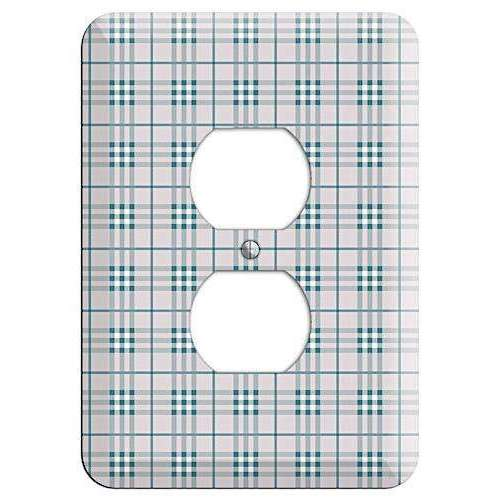 Multi Grey Plaid Duplex Outlet Wallplate - Wallplatesonline.com