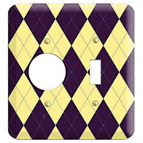 Yellow and Black Argyle Receptacle / Toggle Wallplate:Wallplatesonline.com
