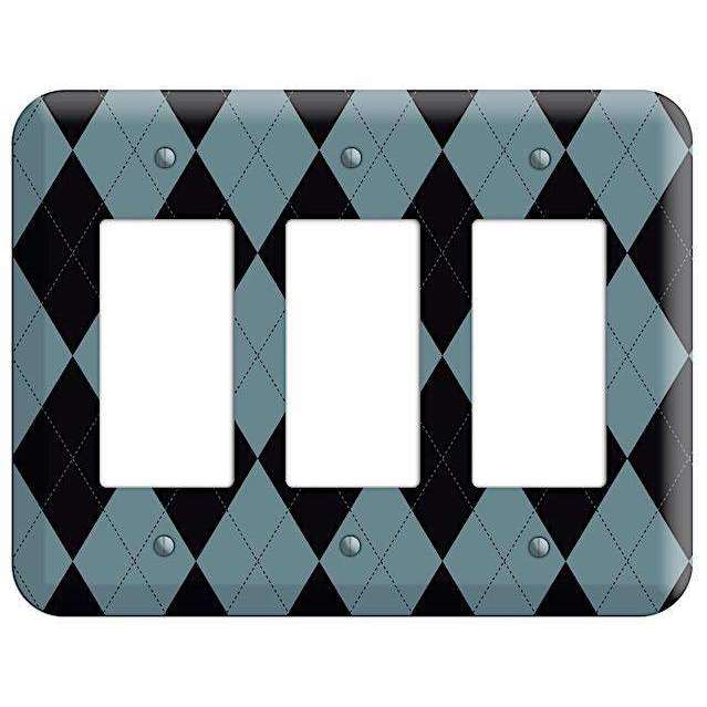 Blue and Black Argyle 3 Rocker Wallplate - Wallplatesonline.com