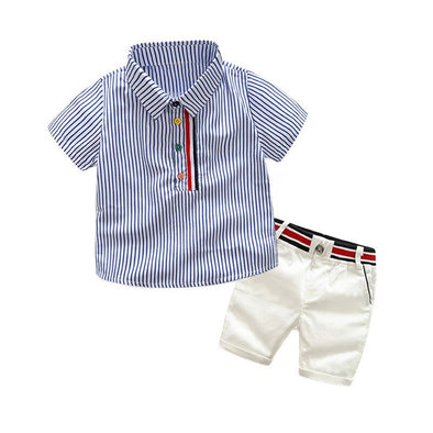 Striped Shirt and White Shorts Set