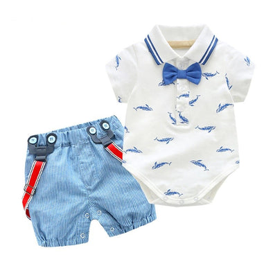 Shark Print T-Shirt and Blue Shorts Set