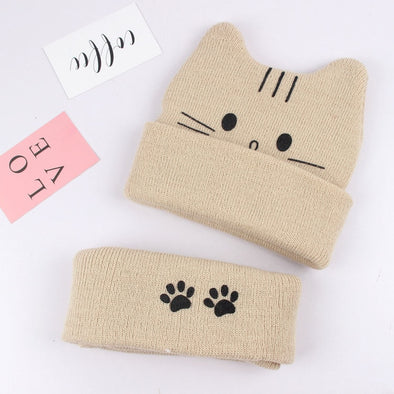 Cat Hat and Neck Warmer Set