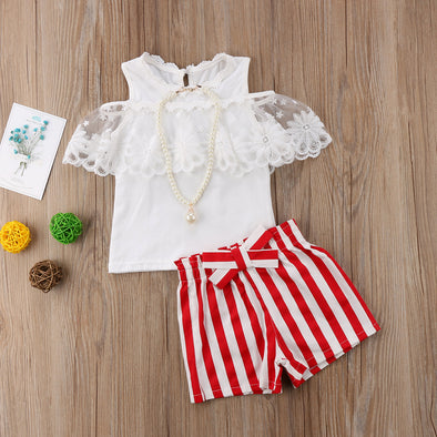 Elegant Top and Red Striped Shorts