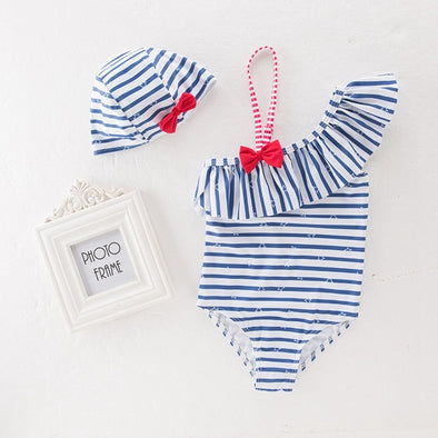 Blue Striped Swimsuit and Hat