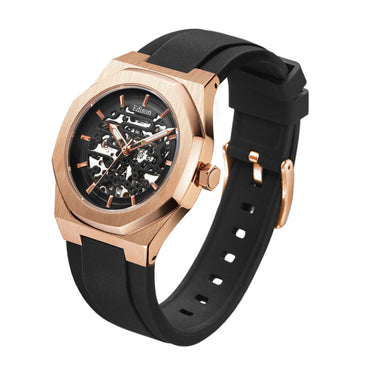 Men's Edison Automatic Rose Gold Colour Watch With Black Dial In Hexagon Case