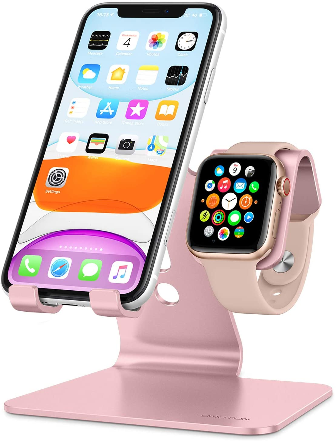 Omoton 2 in 1 Charging Stand for Apple Watch & Phone Rose Gold Colour