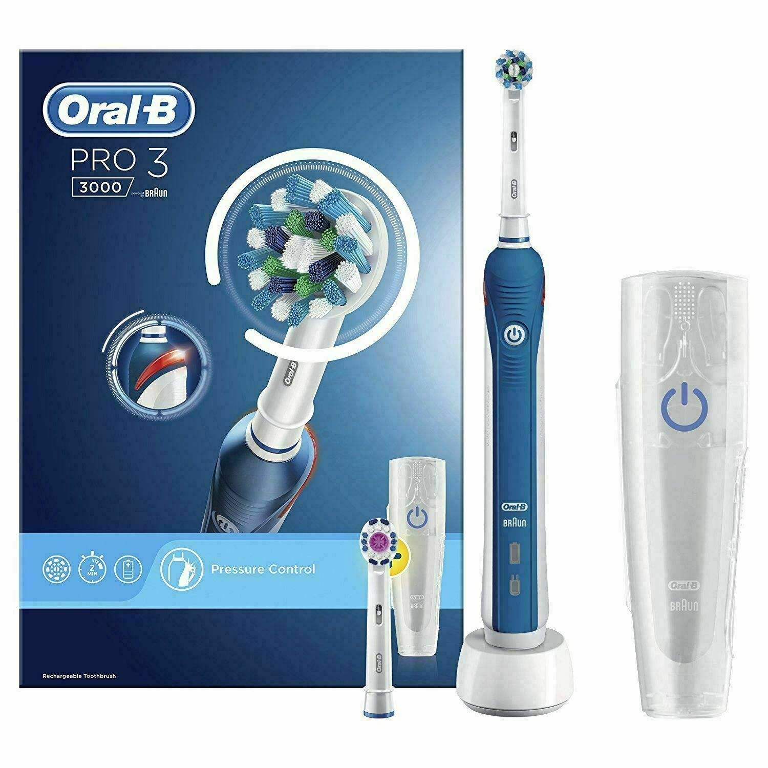 Oral-B Pro 3000 CrossAction Rechargeable Electric Toothbrush Pressure Control