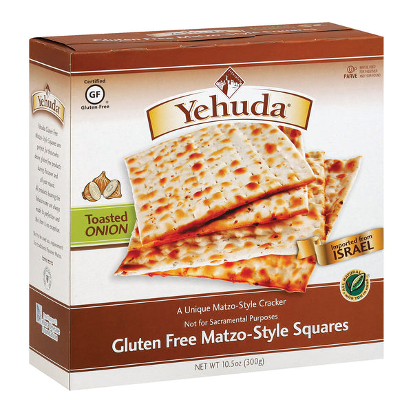 Yehuda Matzo Squares - Toasted Onion - Gluten Free - Case of 12 - 10.5 oz