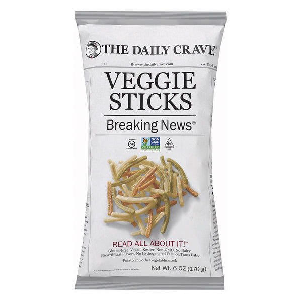 The Daily Crave Veggie Sticks - Potato and Other Vegetable Snack - Case of 8 - 6 oz