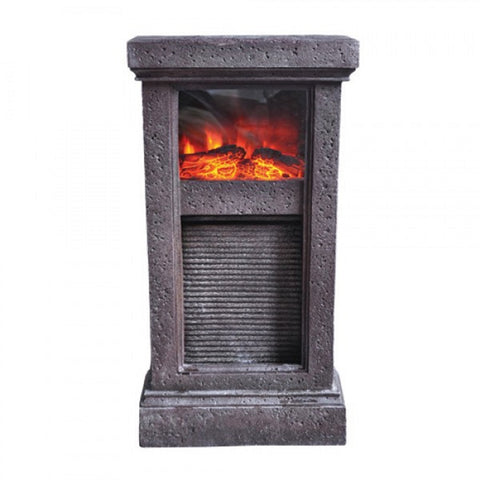 QK-FEFP74608A Natural Polyresin Washboard Fireplace FOUNTAIN