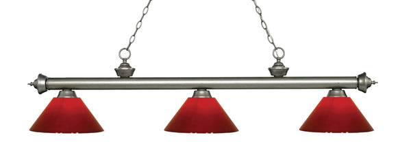 Z-Lite 200-3AS-PRD Riviera 3 Light Billiard Light with Antique Silver Steel Frame