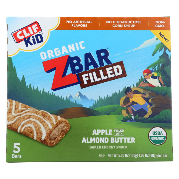 Clif Kid ZBar - Filled Organic ZBar - Apple with Almond Butter - Case of 8 - 5/1.06 oz.