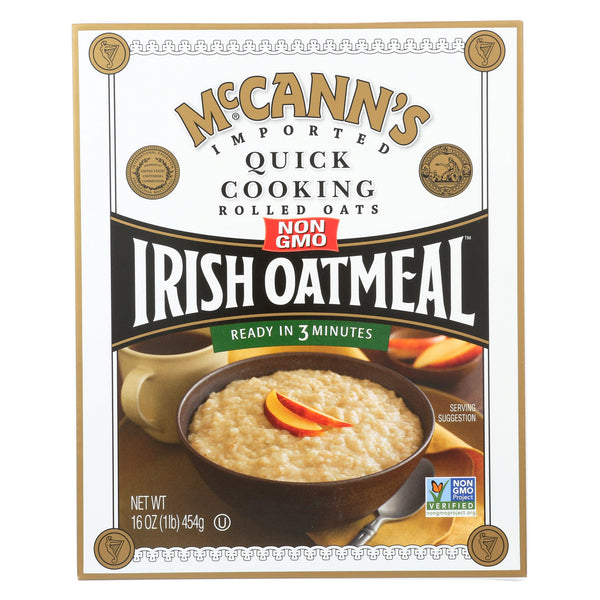 McCann's Irish Oatmeal Quick Cooking Rolled Oats - Case of 12 - 16 oz.