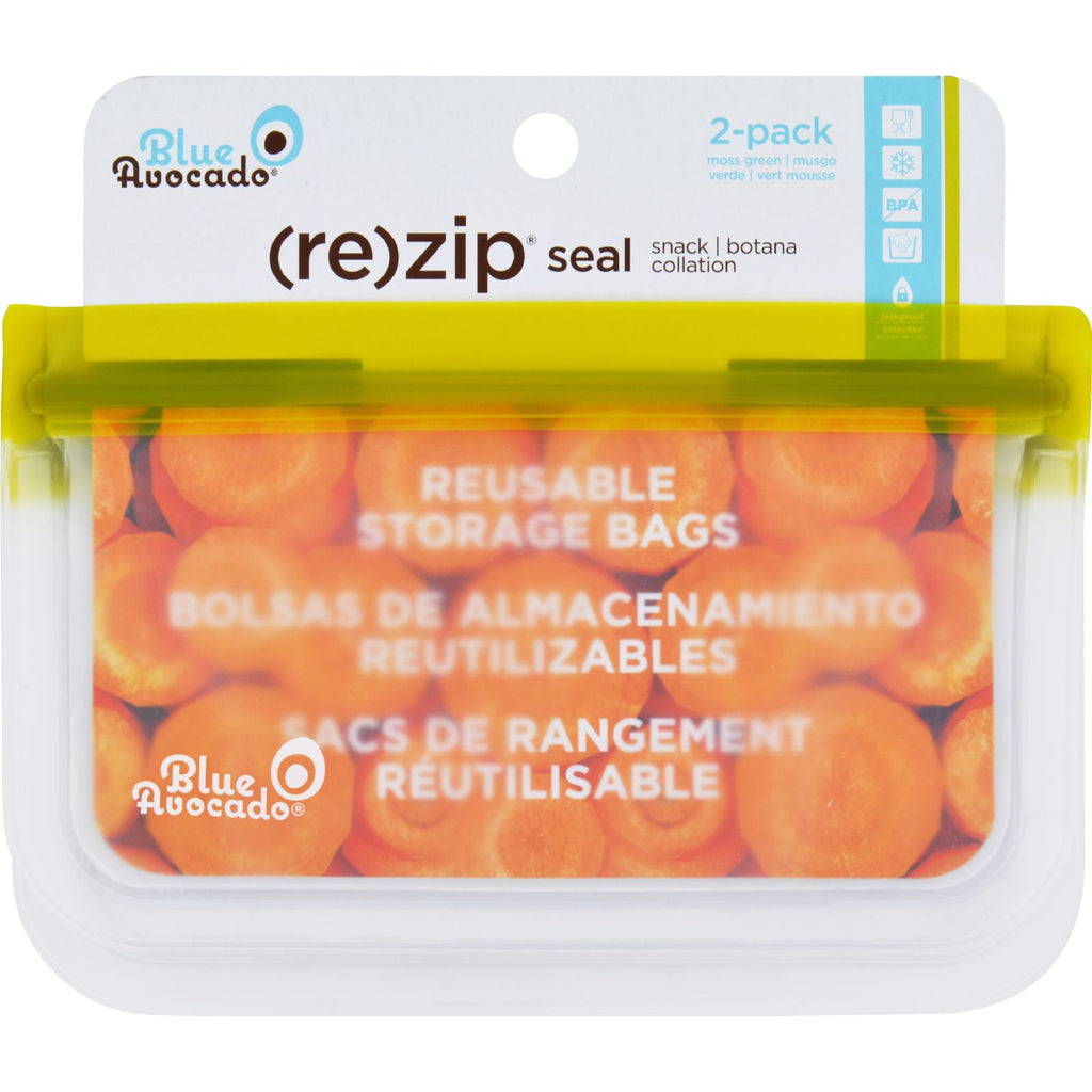 Blue Avocado Bag - Re-Zip - Snack - Green - 2 Count