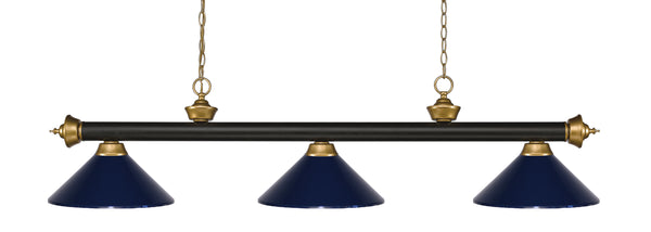 Z-Lite 200-3BRZ+SG-MNB Riviera 3 Light Billiard Light with Bronze + Satin Gold Steel Frame