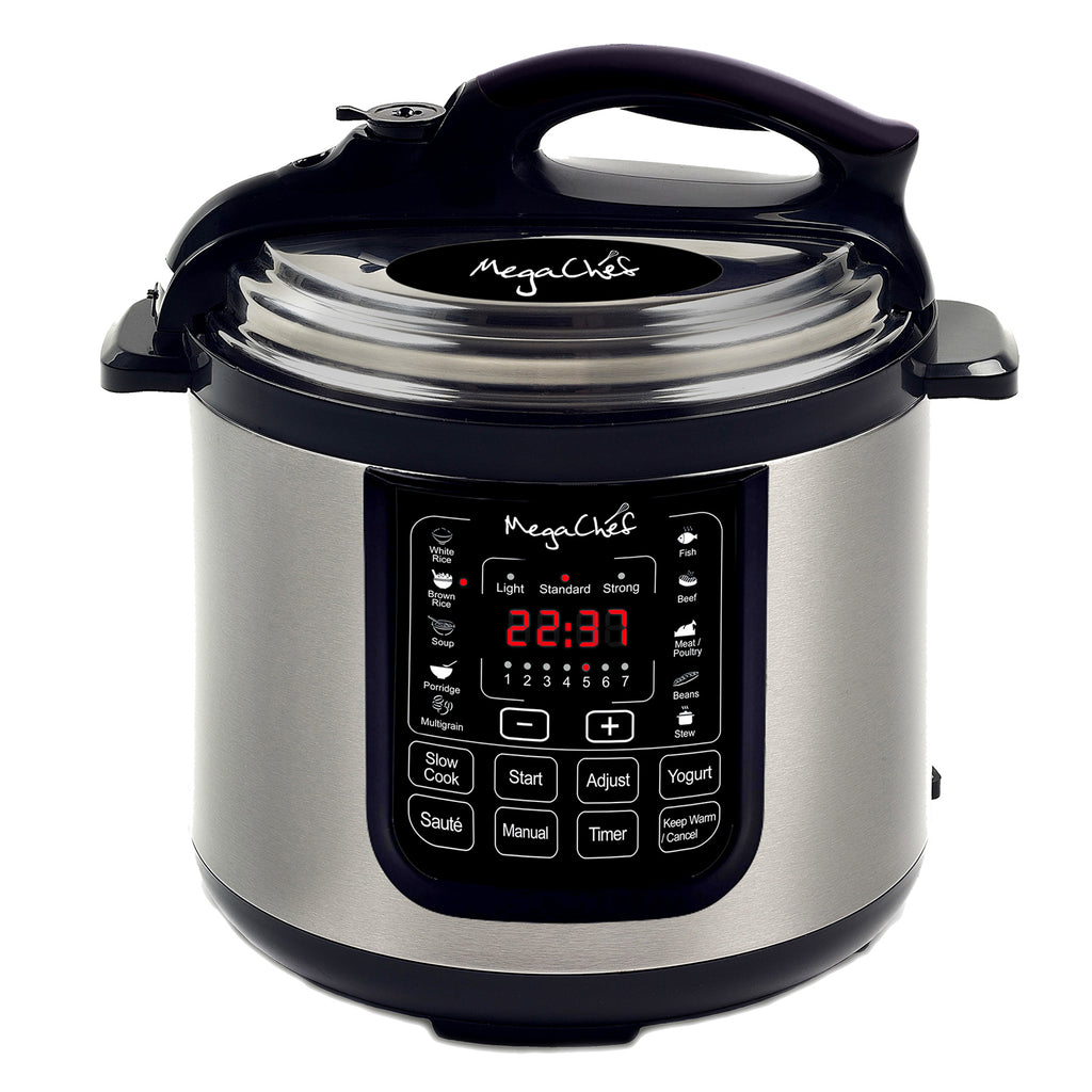 Megachef  8 Quart Digital Pressure Cooker with 13 Pre-set Multi Function Features - Factory Reconditioned