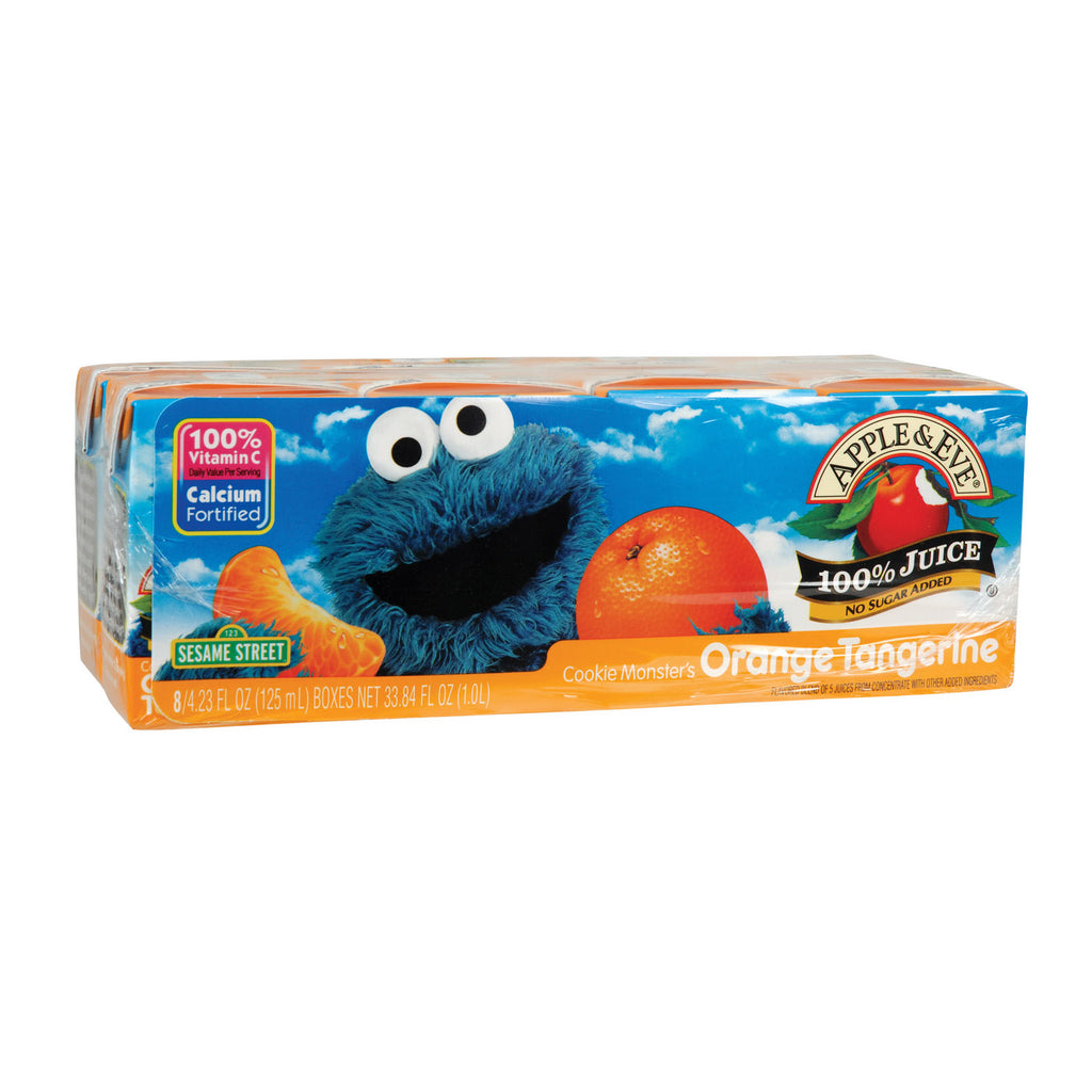 Apple and Eve Sesame Street 100 Percent Juice - Cookie Monster's Orange Tangerine - Case of 5 - 125 ml