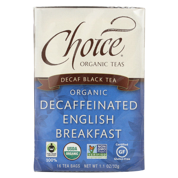 Choice Organic Black Tea - Decaffeinated English Breakfast - Case of 6 - 16 Bags