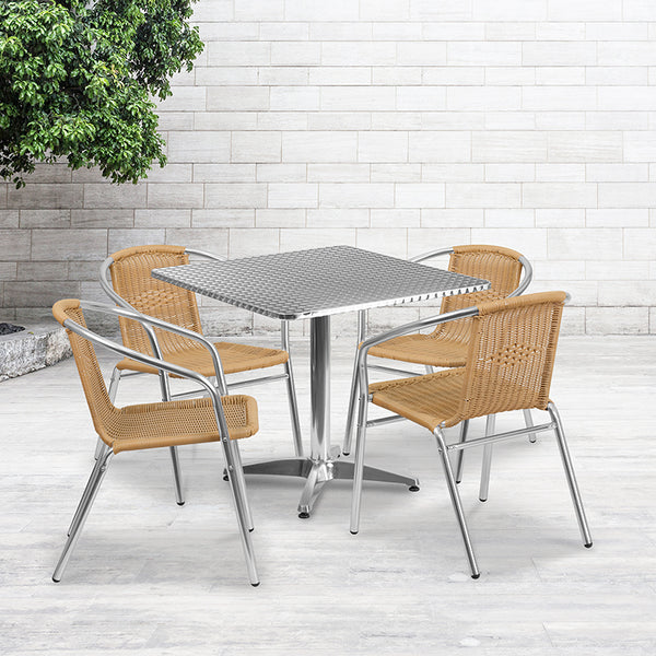 31.5'' Square Aluminum Indoor-Outdoor Table Set with 4 Beige Rattan Chairs