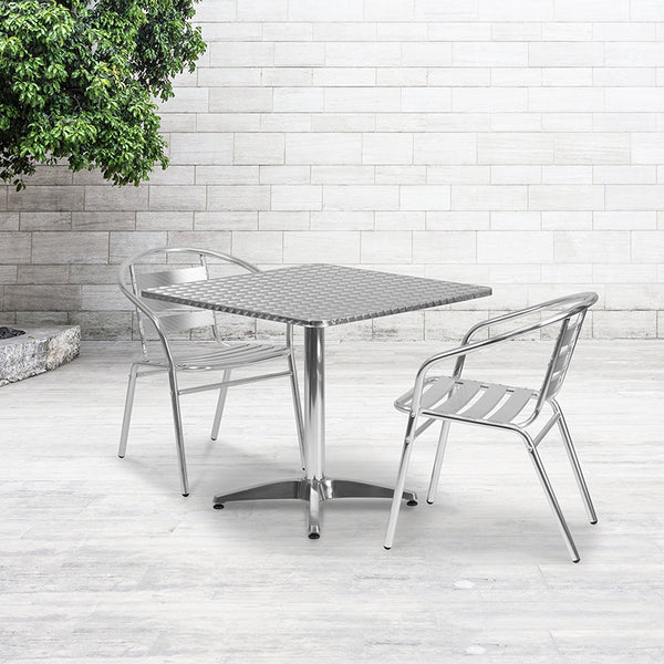 31.5'' Square Aluminum Indoor-Outdoor Table Set with 2 Slat Back Chairs
