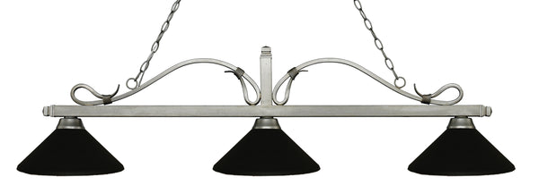 Z-Lite 114-3AS-MMB Melrose 3 Light Billiard Light with Antique Silver Steel Frame