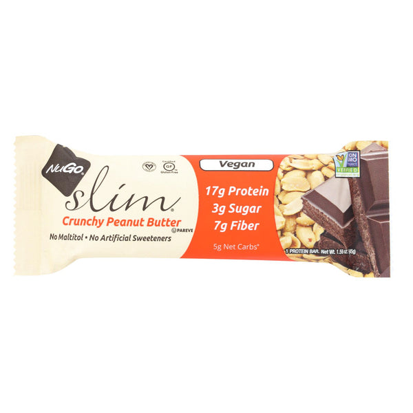NuGo Nutrition Bar - Slim - Crunchy Peanut Butter - 1.59 oz Bars - Case of 12