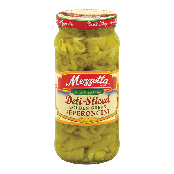 Mezzetta Deli Sliced Golden Greek Pepperoncini - Case of 6 - 16 Fl oz.