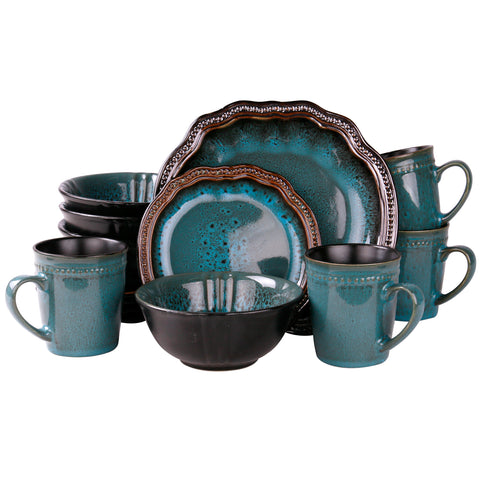 Elama 's Mystic Waves 16 Piece Dinnerware Set