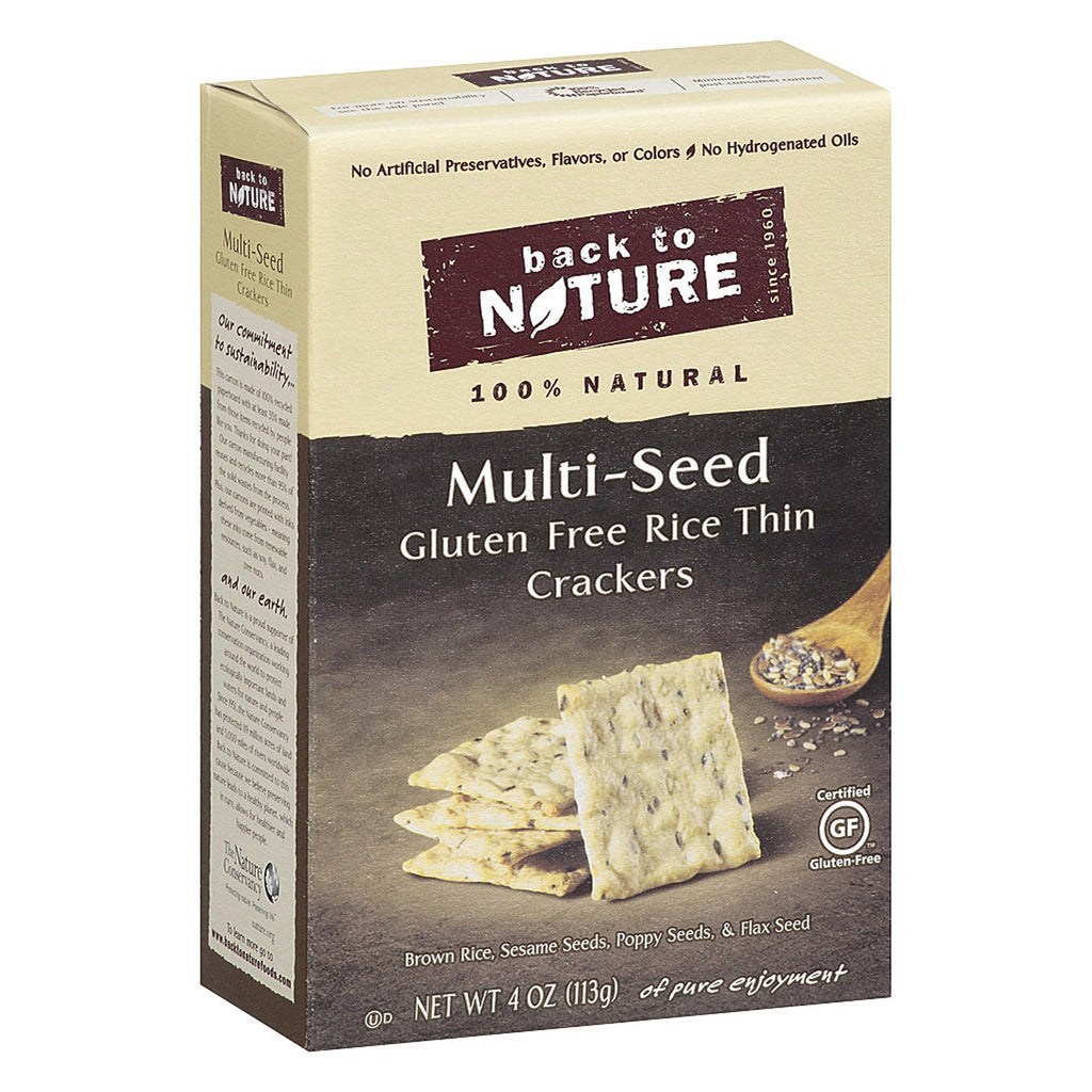 Back To Nature Multi Seed Rice Thin Crackers - Brown Rice, Sesame Seeds, Poppy Seeds and Flax Seed - Case of 12 - 4 oz.