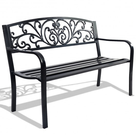 50'' Patio Park Steel Frame Cast Iron Backrest Bench Porch Chair - OP70534